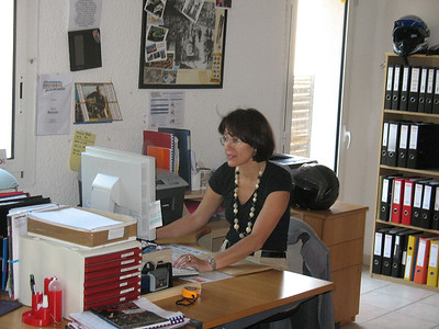 Fabienne at work in the offices of Moto Provencale