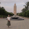 Kim in front of Koutoubia Minaret in Marrakech