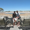 Kim and Alan at the waterhole, Okaukuejo Rest Camp, Etosha NP, Namibia