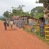 One of many roadside stands selling local products, in this case painted bamboo furniture.