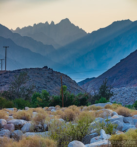 Whitney Portal/Alabama Hills; the sky was affected by smoke from wildfires burning out of control all over California. Mt. Whitney can be seen at the top of the photo.