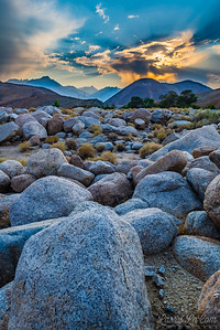Whitney Portal/Alabama Hills; the sky was affected by smoke from wildfires burning out of control all over California. Mt. Whitney can be seen in the far distance.