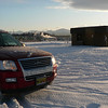 Our trusty Ford Explorer with great 4-wheel drive.  Trust me, it works!!