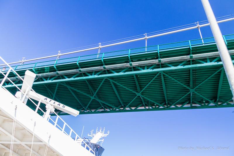 Passing under the bridge.