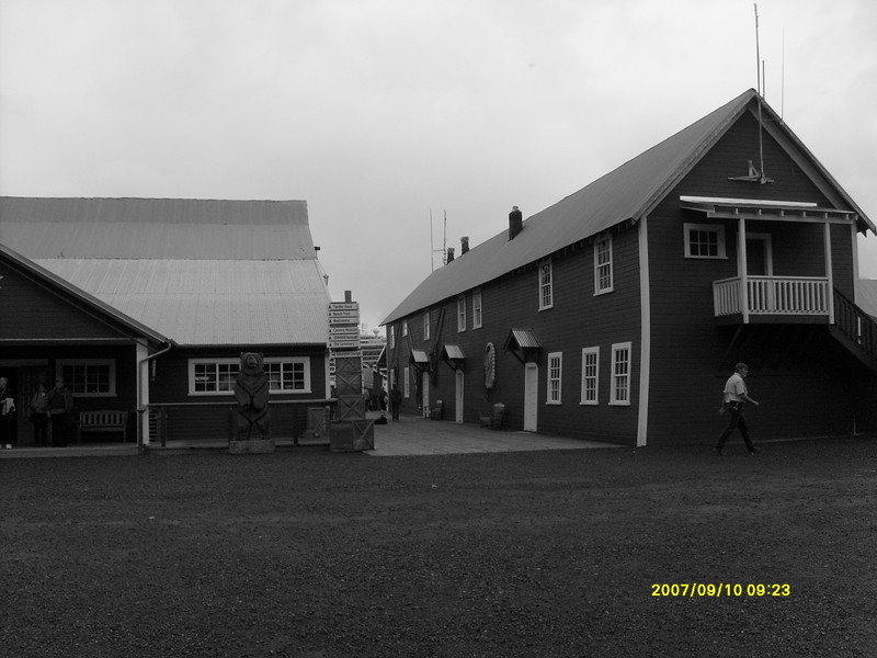Black and white of the old cannery.