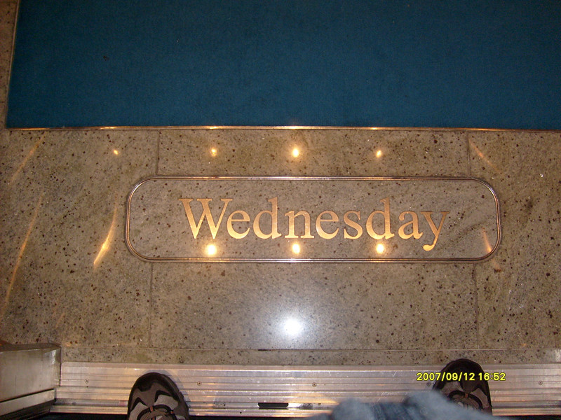 If your confused about what day it is........take an elevator....they change these tiles every night.