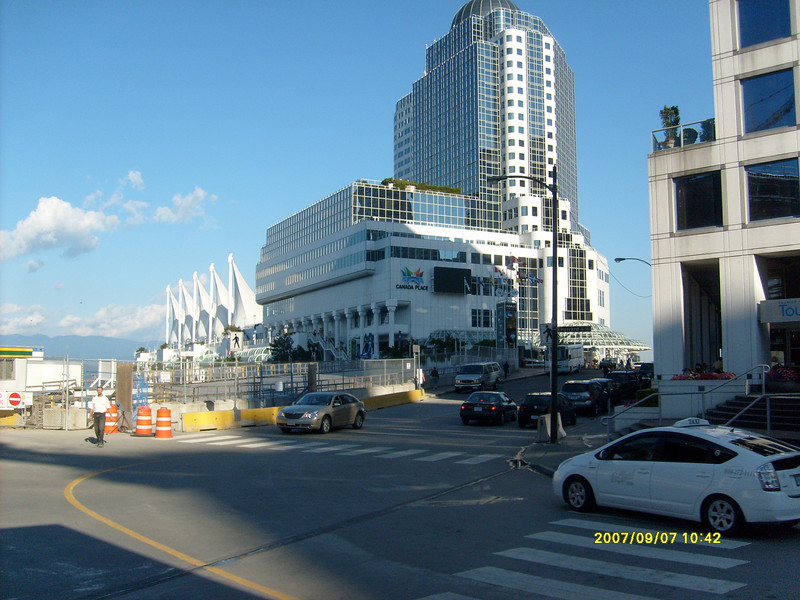 Canada Place:  Wonderful convention center, festival, activities center on the water front.  Most cruise lines tie up here.