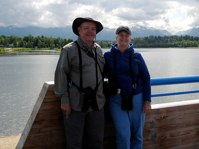 June 24, 2009 (Westchester Lagoon, Anchorage, Alaska) - David & Mary Anne with a background of the mountain foothills where we used to live