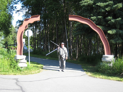 June 24, 2009 (Earthquake Park, Anchorage, Alaska) - David carrying our birding scope at the entrance to the park