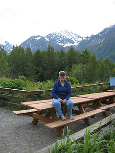 June 24, 2009 (Eagle River [Eagle River Nature Center] / Chugach State Park, Alaska) - Mary Anne at the entrance to a three plus mile hiking trail