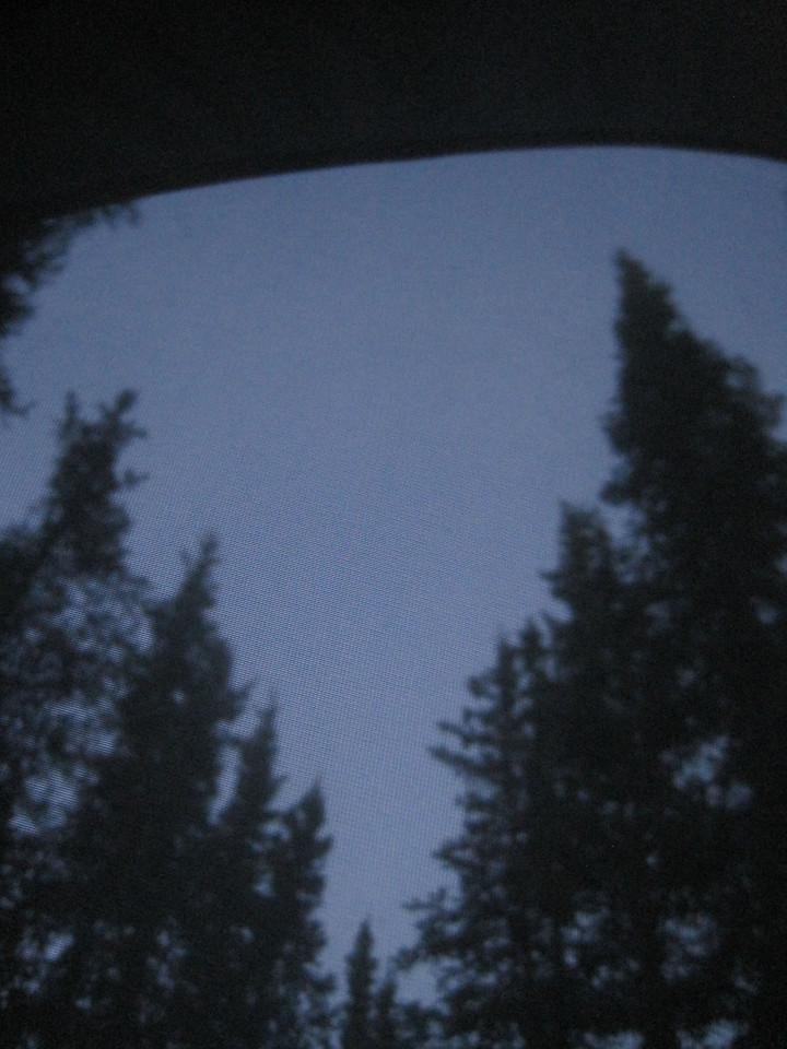 View from the tent of the darkest it gets during the middle of a summer night in Alaska.