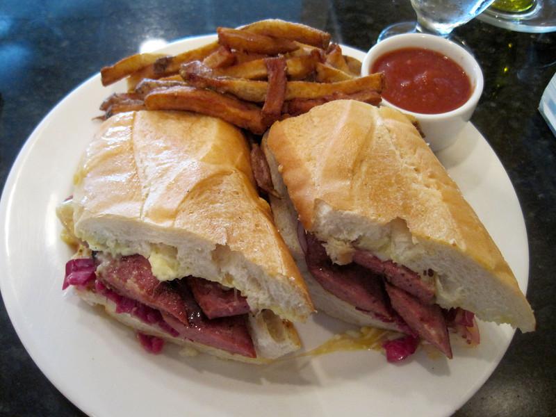 First meal in Anchorage: Alaska reindeer sausage sandwich.