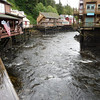Stores on stilts, salmon in the river
