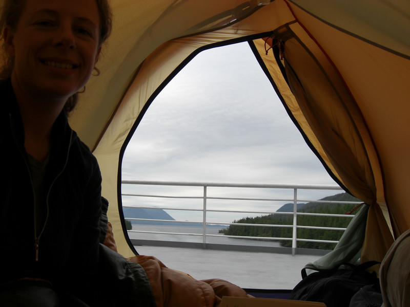 view from the tent on the ferry (somewhere in canadian waters)