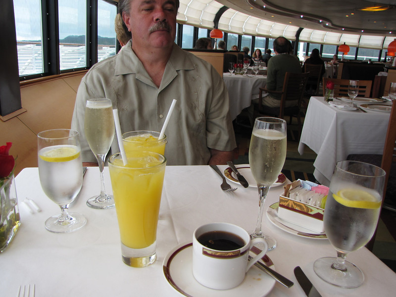SInce they only give you one glass of champagne or one glass of OJ, I recommend that you get a glass of champagne and a glass of OJ and mix a couple yourself!! :)
