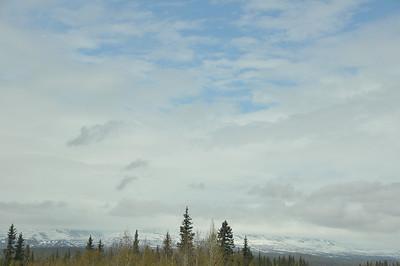 Denali is hidden behind the clouds.