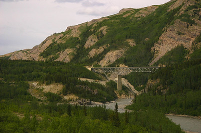 Just north of Denali - looking at the highway bridge from the train