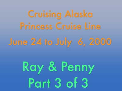 Greetings:  Here's the last of three videos of our cruise vacation in beautiful Alaska.  This video is about Alaska -- Pt 3   http://ray-penny.smugmug.com/Vacation/Alaska/29979605_rdjTNs#!i=2598431811&k=GNFwkwB&lb=1&s=A  Video is 18 1/4 minutes long and what you'll be seeing is the following:  Embarking train for trip from Denali to Fairbanks  Visit to mining camp with visuals as to how gold is prospected and processed:  Paddle boat tour  Sled dogs performing  Visit to a Alaskan Heritage Center that depicts how early Alaskan residents lived and a viewing of hunter/trapper pelts  Kennels of Jeff King  That's it folks, hope you enjoy(ed)!  Cheers!  Ray
