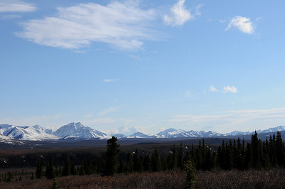 Denali is only visible an average of once every three days during the summer season. Ironically, during the winter it is almost always visible. The mountain is in the middle of the photograph, and appears to be shorter than the mountains in the foreground.