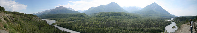 Panorama of a valley and mountains between Anchorage and Tok