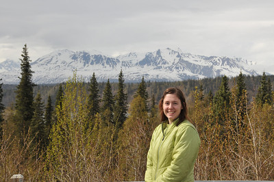 Sarah, with an invisible Denali in the background.