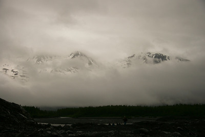 Looking out at the valley where the Exit glacier used to be