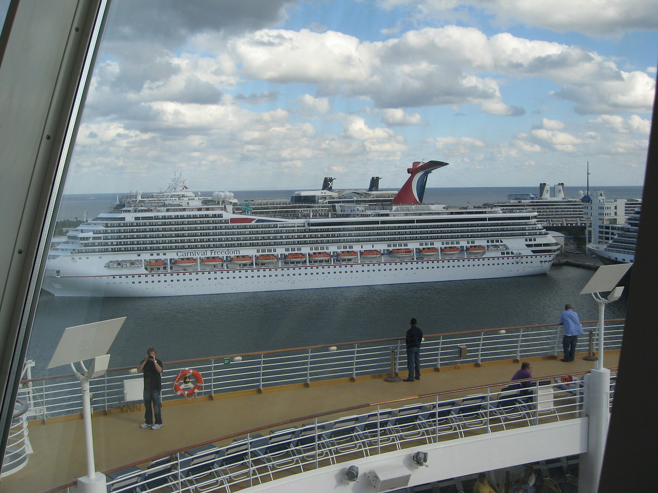 Looking down on Carnival cruise ship.