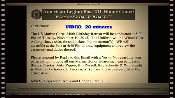 VIDEO:  20 minutes~~240th Marine Corps Birthday, November 10, 2015, American Legion Retreat, Avon Lake, OH