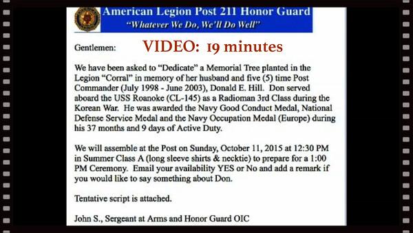 Donald E. Hill - Dedication of Memorial Tree, Sun., Oct. 11, 2015