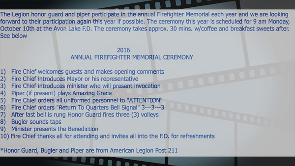 VIDEO:  10 minutes ~~ Avon Lake, Ohio Firefighters Memorial Ceremony 10-10-16.   Click on image above and then on triangle and video will play.