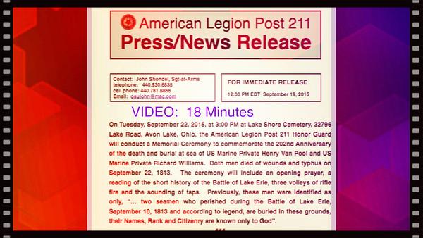 VIDEO:  18 Minutes.  Tue., Sept. 22, 2015, Lake Shore Cemetery, Avon Lake, OH