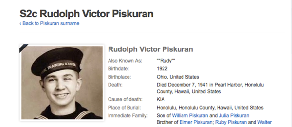 Various Media Stories--Click on any link to read newspaper article regarding Rudolph Piskuran & the US Oklahoma  http://www.cleveland.com/metro/index.ssf/2016/10/remains_of_elyria_sailor_kille.html  http://www.chroniclet.com/news/2016/10/02/Coming-home-75-years-later.html  http://navy.togetherweserved.com/usn/servlet/tws.webapp.WebApp?cmd=ShadowBoxProfile&type=Person&ID=269299&source=fold3  http://www.dpaa.mil/News-Stories/News-Releases/Article/967866/uss-oklahoma-sailor-from-world-war-ii-accounted-for-piskuran/  http://www.honorstates.org/index.php?id=360805  http://www.washingtontimes.com/topics/rudolph-piskuran/  https://www.geni.com/people/S2c-Rudolph-Victor-Piskuran/6000000032929213030  http://www.foxnews.com/us/2016/10/04/sailor-killed-in-pearl-harbor-attack-to-be-buried-in-ohio.html  http://www.wcsmradio.com/index.php/news/21128/117/THE-REMAINS-OF-A-SAILOR-KILLED-75-YEARS-AGO-IN-THE-ATTACK-ON-PEARL-HARBOR-HAVE-RETURNED-TO-OHIO-AND-WERE-SET-TO-BE-BURIED-WITH-FULL-MILITARY-HONORS  http://www.morningjournal.com/general-news/20161014/remains-returned-for-elyria-sailor-killed-in-pearl-harbor-attack  https://books.google.com/books?id=lCMPRqCNs1AC&pg=PA167&lpg=PA167&dq=rudolf+piskuran&source=bl&ots=IbPEESZLJO&sig=wiWMMB_FBSyKKc5Ecew6uZgMIuU&hl=en&sa=X&ved=0ahUKEwi9vpGouN3PAhWDRSYKHWHMDls4FBDoAQgaMAA#v=onepage&q=rudolf%20piskuran&f=false