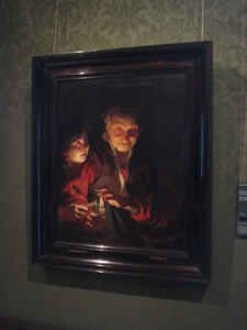 My favorite of the masterpieces we saw in the Mauritshuis:  Old woman and boy with candles, by Peter Paul Rubens, c. 1616-17  This is a recent acquisition by the Museum.