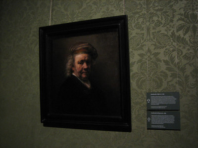 Rembrandt's self-portrait at age 63.  Restored recently. Displayed at Mauritshuis, Summer 2006 (400th anniversary of Rembrandt, 1606-1669) It was removed from a large fancy frame for the restoration; it will be re-framed later.