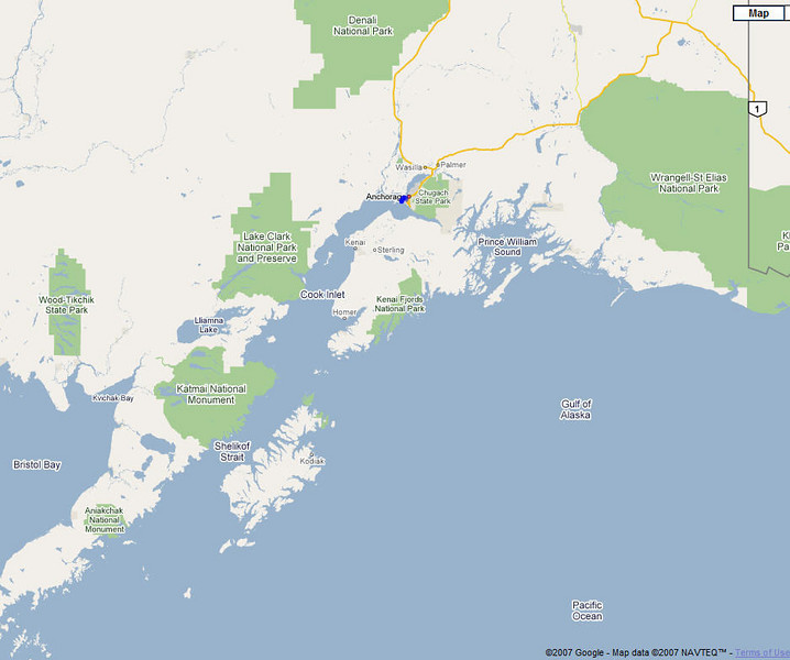 For those who don't know how Anchorage is almost a peninsula jutting in to Cook Inlet ... (From Google Maps)