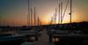 Sun setting over the Apostle Island Marina in Bayfield, WI.