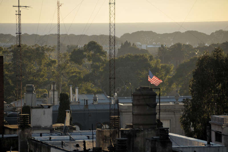 The American Flag waves over the embassy, not more than 100 yards from where I'm staying.