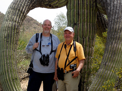 April 18, 2010 - (Saguaro National Park [West] / Tucson, Pima County, Arizona) -- Ken & David wrapped in the arms of a Giant Saguaro Cactus