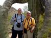 April 18, 2010 - (Saguaro National Park [West] / Tucson, Pima County, Arizona) -- Ken & David wrapped in the arms of a Giant Saguaro Cactus