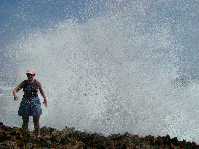 Except when Roe stood there the biggest wave of all came crashing in and over her. Yes she got very wet.