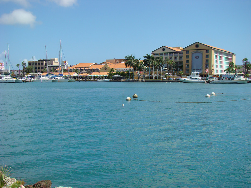 This is view looking back at downtown Oranjestad.