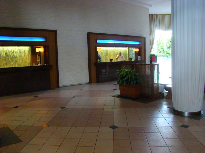 A view of the hotel lobby.