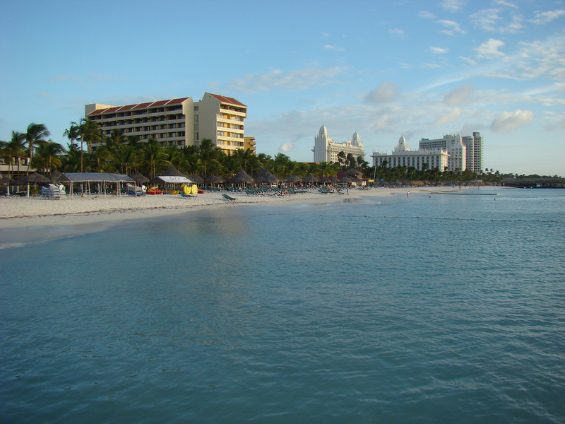 A view from the pier looking at some of the hotels along the beach.