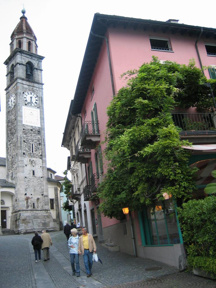 Downtown Ascona, the church, taken from the boardwalk