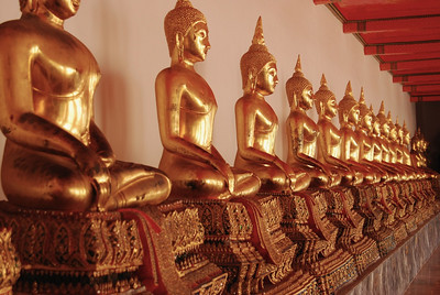 Numerous statues within the Temple of the Emerald Buddha complex (Bangkok)