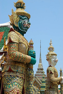 Unique statues are every where at the Temple of the Emerald Buddha, Bangkok