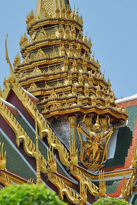 Beautiful golden roof with amazing details, Temple of the Emerald Buddha, Bangkok