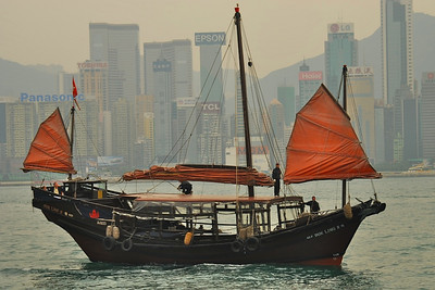 Sailboat on Hong Kong Harbor