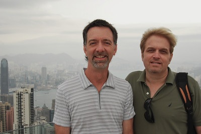 Jerry and Wes atop the Peak - Hong Kong