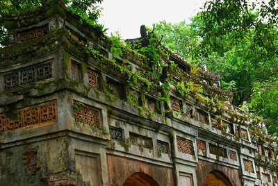 Tropical environmental of Hue, Vietnam - old gate within Imperial Citadel